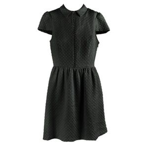 Kensie Black Textured Dot Dress